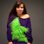 Green Long Fur Star Sweat