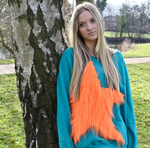Orange Long Fur Star Ladies Sweat